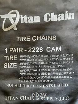 Titan Chain Snow Tire Chains with Cams Ladder Pattern V-Bar Link 1 Pair