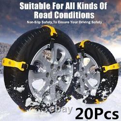 20 Pack Voiture Sedan Suv Snow Mud Chaînes De Pneus Beef Tendon Roue Chaîne Tpu Antidérapante