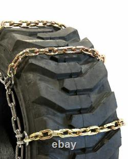 Titan Alloy Square Link Tire Chains 4 Link Space Skid Steer 8mm 12-16.5